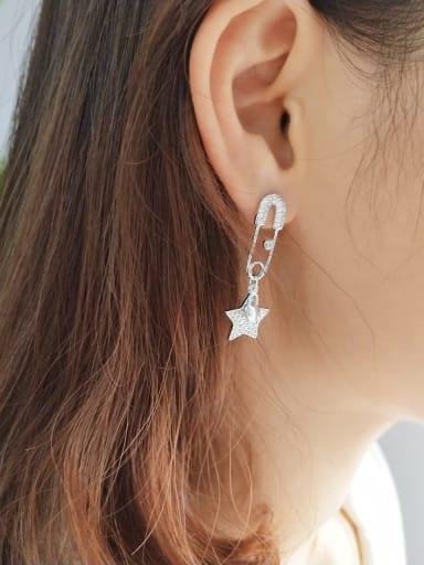 925 Sterling Silver Rhinestone Micro Pin Earpin  Minimalist Drop Earring
