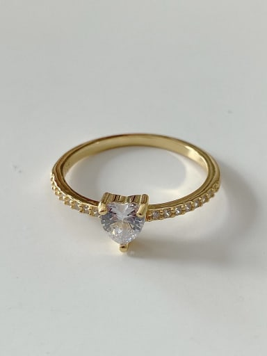 925 Sterling Silver Minimalist  Heart Cubic Zirconia    Free Size Midi Ring