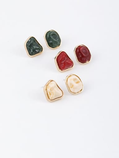 Brass Resin Multi Color Irregular Minimalist Stud Earring