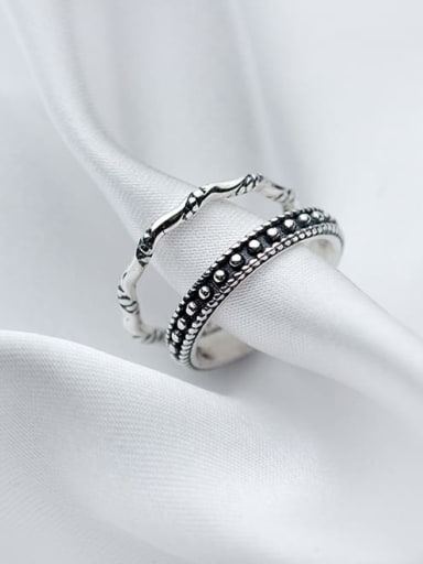 925 Sterling Silver Vintage knot Free Size Midi Ring