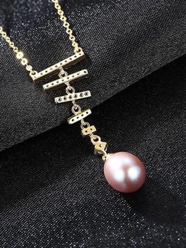 Purple 5G12 l925 Sterling Silver Freshwater Pearl  pendant Necklace