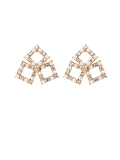 B square Brass Imitation Pearl White Geometric Cute Stud Earring
