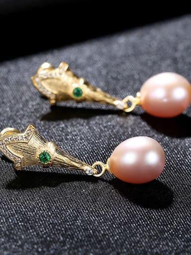 Violet 3H05 925 Sterling Silver Freshwater Pearl  Irregular Vintage Drop Earring