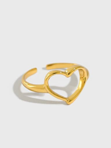 925 Sterling Silver Hollow Heart Minimalist Band Ring