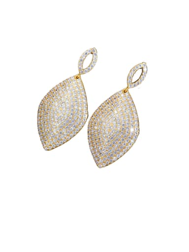 gold Copper With Cubic Zirconia  Luxury Leaf Cluster Earrings