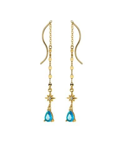 925 Sterling Silver  Blue Water Drop Minimalist Threader Earring