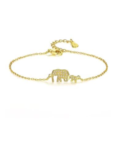 925 Sterling Silver Cubic Zirconia  Minimalist Elephant Link Bracelet