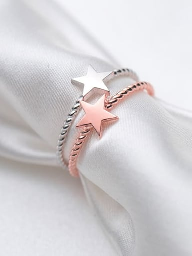 925 Sterling Silver Minimalist Fashion pentagram couple Midi Ring