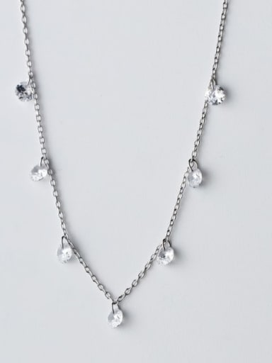 925 Sterling Silver Fashion personality white diamond tassel  Necklace