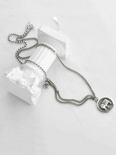 Vintage  Sterling Silver With Antique Silver Plated Fashion Animal Multi Strand Necklaces