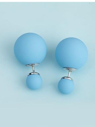 Light blue t09d01 Copper Imitation Pearl Enamel  Round Ball Minimalist Stud Earring