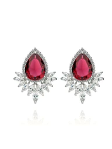 Red corundum 02d02 Copper Cubic Zirconia Flower Trend Stud Earring