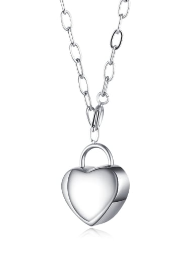 1613 steel color Titanium Smooth Heart Pendants Necklace