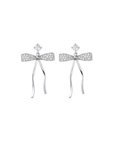 Alloy With Platinum Plated Cute Bowknot Drop Earrings