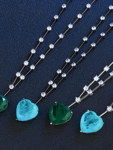 Sky blue (black gold) Copper Glass Stone Heart Vintage Necklace