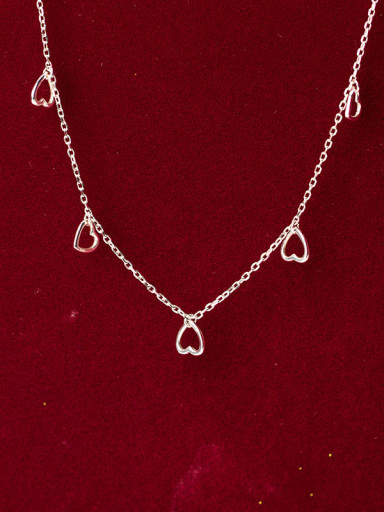 925 Sterling Silver Minimalist Hollow Heart Pendant  Necklace