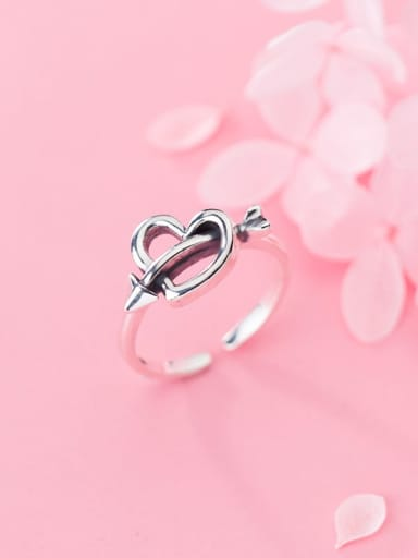 925 Sterling Silver Hollow Heart Minimalist Free Size Ring