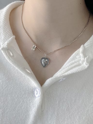 925 Sterling Silver Simple heart pendant Necklace