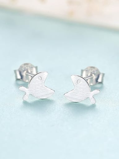 Platinum 16C11 925 Sterling Silver Smooth Fish Minimalist Stud Earring
