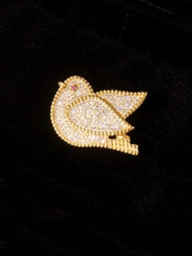 Gold Copper Cubic Zirconia White Bird Cute Brooches