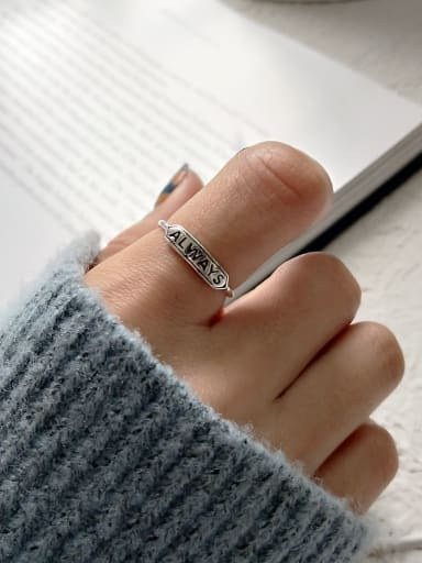 925 Sterling Silver Letter Vintage Free Size Midi Ring
