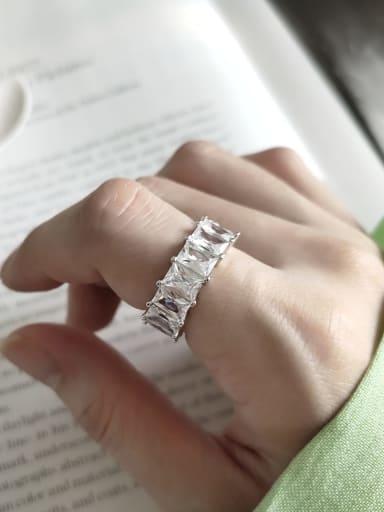 925 Sterling Silver Cubic Zirconia Fangtangjie Geometric Minimalist Free Size Midi Ring