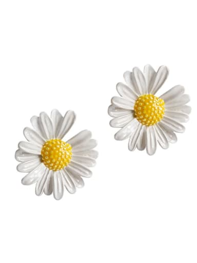 925 Sterling Silver  Minimalist Resin Flower Stud Earring
