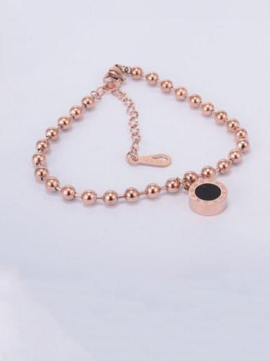 Titanium Bead Black Enamel Round Trend Beaded Bracelet