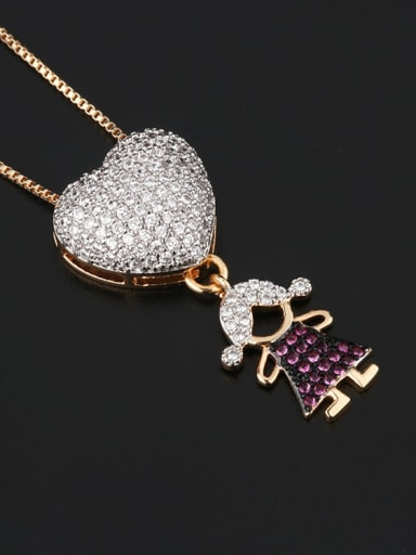 Single girl Brass Cubic Zirconia Heart Cute boy and gril pendant Necklace