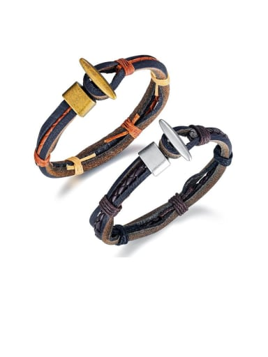 Alloy Leather Geometric Vintage Woven Bracelet