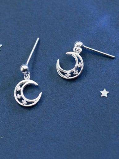 925 Sterling Silver Rhinestone White Moon Minimalist Stud Earring