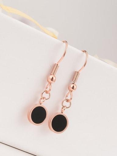 Titanium Black Enamel Round Minimalist Hook Earring
