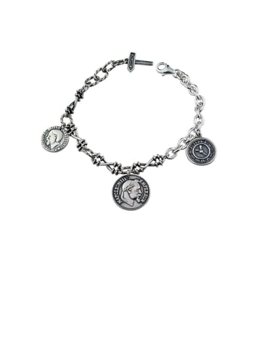 Vintage Sterling Silver With Antique Silver Vintage Round Portrait Bracelets