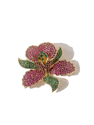 gold red Copper Cubic Zirconia White Flower Dainty Brooches