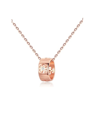 925 Sterling Silver Rhinestone simple fashion lucky Ring Pendant Necklace