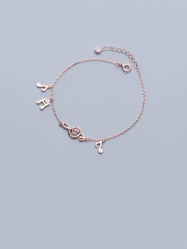 925 Sterling Silver  Minimalist  Musical notes with diamonds Link Bracelet