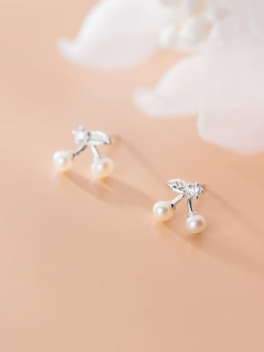 925 Sterling Silver Imitation Pearl Friut Minimalist Stud Earring