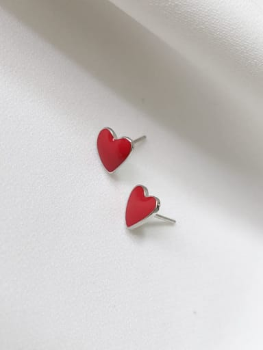 925 Sterling Silver Enamel Heart Minimalist Stud Earring