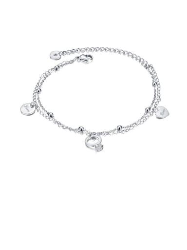 098 steel foot chain Heart Minimalist Titanium Anklet