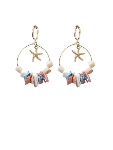 Zinc Alloy Shell Multi Color Heart Bohemia Chandelier Earring