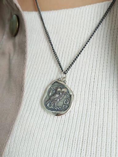 925 Sterling Silver Vintage owl letter Pendant Necklace
