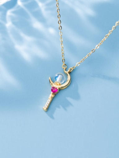 925 Sterling Silver With Rhinestone Cut Key  Necklaces