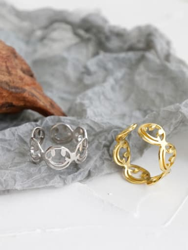 925 Sterling Silver With Gold Plated Simplistic Hollow Smiley Free Size  Rings