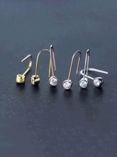 925 Sterling Silver Rhinestone Geometric Minimalist Hook Earring