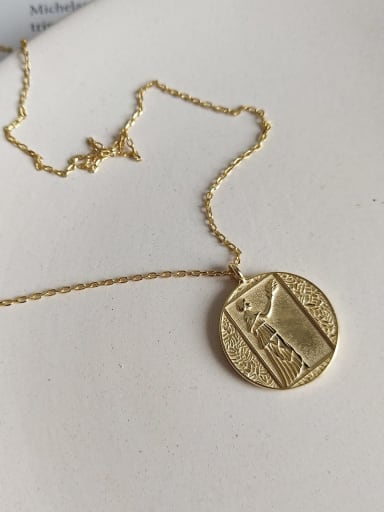 925 Sterling Silver Round Artisan Abstract portrait Initials Necklace