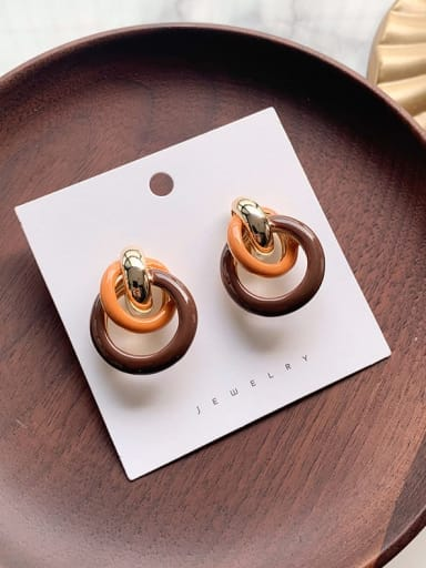 B dark brown Alloy With Imitation Gold Plated Fashion Round Stud Earrings