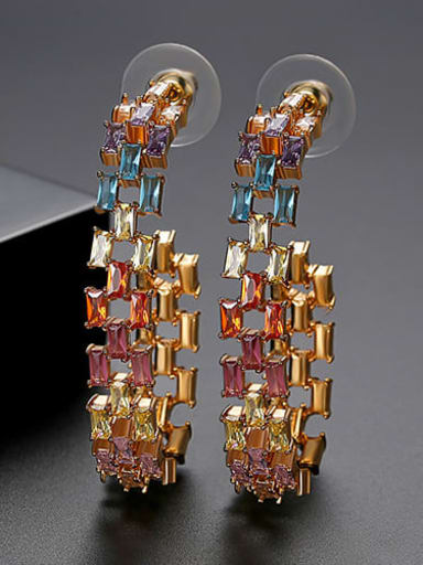 Color plating 18K t04i18 Copper Cubic Zirconia Multi Color Square Statement Drop Earring