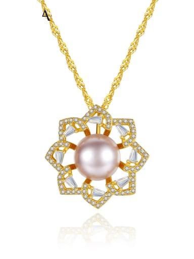 925 Sterling Silver Rhinestone Flower Dainty Necklace