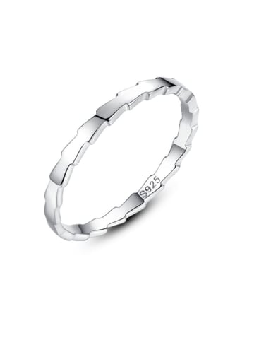 925 Sterling Silver  Smooth Irregular Minimalist Band Ring