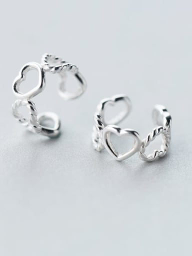 925 Sterling Silver Heart Minimalist Clip Earring